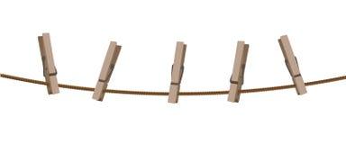 Corde à linge avec des chevilles Photos stock