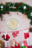 Corde à linge des vêtements de Santa Photos libres de droits