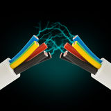 Corde électrique avec l'électricité Images libres de droits