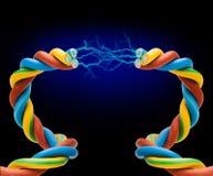 Corde électrique avec l'électricité Photos stock