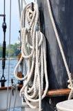 Corde in barca a vela Fotografie Stock