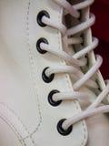 Corde blanche de chaussure Photo libre de droits