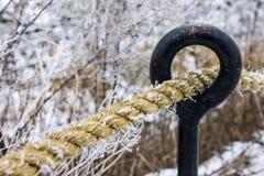 Corde couverte dans la neige Image stock
