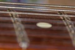 Corde d'argento della chitarra fotografia stock