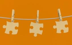 corde de puzzle de Vêtements-cheville en bois Photo libre de droits