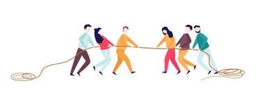 Corde de traction enthousiaste de femme d'homme Concurrence de conflit entre deux équipes Concept d'activité de sports pendant de illustration de vecteur