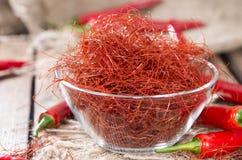 Corde dei peperoncini rossi caldi Fotografia Stock