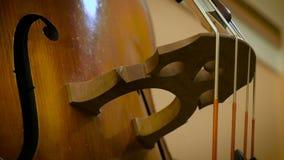 Corde del contrabbasso con l'arco archivi video