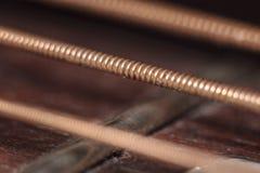 Corde della chitarra del dettaglio Fotografia Stock Libera da Diritti