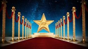 Corde della stella, del tappeto rosso e del velluto contro il fondo di notte illustrazione di stock