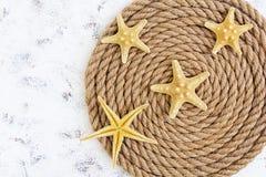 Corde et étoiles de mer sur le fond blanc Vue supérieure Photo libre de droits
