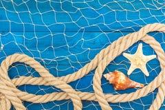 Corde et coquilles marines de réseau sur les disques bleus Photo stock