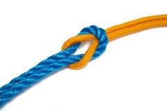 Corde gialle e blu legate insieme Fotografia Stock Libera da Diritti
