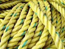Corde jaune de pêche Images stock