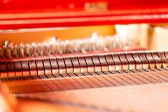 Corde, magli, umidificatori e pianoforte a coda interno della scheda audio Immagini Stock Libere da Diritti