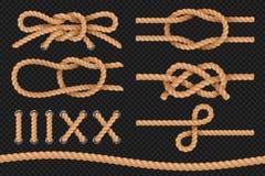 Corde marine Il cavo ha torto la struttura, confini nautici delle corde, bowknot del cordame Insieme di vettore illustrazione vettoriale