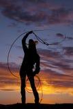 Corde occidentale de pirouette de femme de silhouette Photos libres de droits