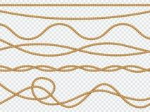 Corde realistiche della fibra Packthread legato naturale del cavo della corda della curva del lazo del confine di marrone della c royalty illustrazione gratis