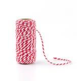 Corde rouge et blanche d'isolement sur le fond blanc Image stock