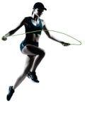 Corde à sauter de taqueuse de turbine de femme Images libres de droits