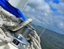 Corde su un sailingboat Fotografia Stock Libera da Diritti