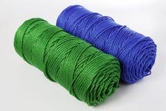 Corde verte et bleue de polyester - fin  Photos stock