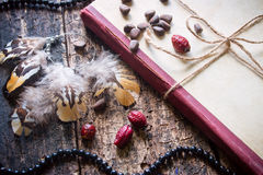 Corded book with beads, dogrose, pine nuts and earrings Stock Image