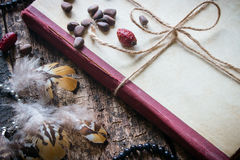 Corded book with beads, dogrose, pine nuts and earrings with feathers Stock Photo