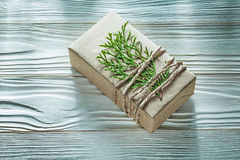 Corded handmade present box with thuya branch horizontal view Stock Photography