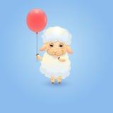 Cordeiro com balão vermelho Foto de Stock Royalty Free