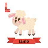 Cordeiro L letra Alfabeto animal das crianças bonitos no vetor C engraçado Imagens de Stock Royalty Free