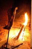 Cordeiro perto da lenha cozinhada lenta do assado do fogo foto de stock royalty free