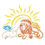 Cordero con alas al lado del león con alas y del sol brillante ilustración del vector