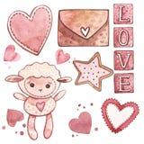Cordero con los corazones Sistema del rosa de la acuarela de los elementos para el día del ` s de la tarjeta del día de San Valen ilustración del vector