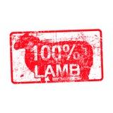 cordero del 100 por ciento - sello sucio sucio de goma rojo en rectangular libre illustration