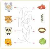 Cordero, gatito, panda y zorro con su comida (carne, leche, bambú Foto de archivo