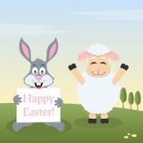 Cordero y Bunny Rabbit con la bandera de Pascua Foto de archivo
