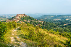 Cordes-sur-Ciel, France from eastern viewpoint. Cordes-sur-Ciel, a village near Albi in Tarn, Midi-Pyrenees, Southern France, as seen from the eastern viewpoint Royalty Free Stock Images
