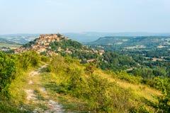 Cordes-sur-Ciel, Francja od wschodniego punktu widzenia Obrazy Royalty Free