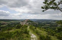 Cordes-sur-Ciel Panorama, Frankrijk Stock Foto