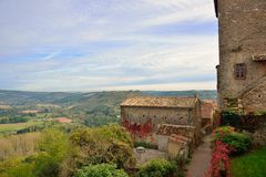 Cordes sur Ciel, a small medieval city on a hill in Southern Fra Royalty Free Stock Image