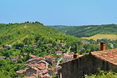 Cordes sur Ciel, medieval city on a hill. Cordes sur Ciel, a small medieval city on a hill in Southern France, near Albi and Toulouse, seen from above Stock Photo