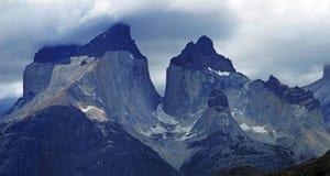 Cordigliera Del Paine Stunning Panoramic View, Patagonia cilena immagini stock