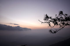 Cordilheira da névoa na aurora Fotografia de Stock Royalty Free