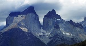 Cordilheira Del Paine Stunning Panoramic View, Patagonia chileno imagens de stock