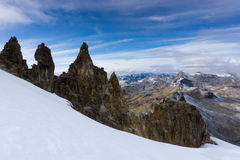 Cordillera Blanca i Anderna i Peru nära Pastoruri Royaltyfria Bilder