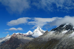 Cordillera Blanca mountains from Santa Cruz Track royalty free stock photo