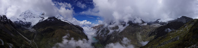 Cordillera Blanca panarama. Cordillera Blanca мountain panorama, view from the pass to the peak Huáscarán Stock Photos