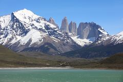 Cordillera Paine in Torres del Paine National Park. Chile stock image