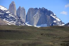 Cordillera Paine in Torres del Paine National Park. Chile royalty free stock image